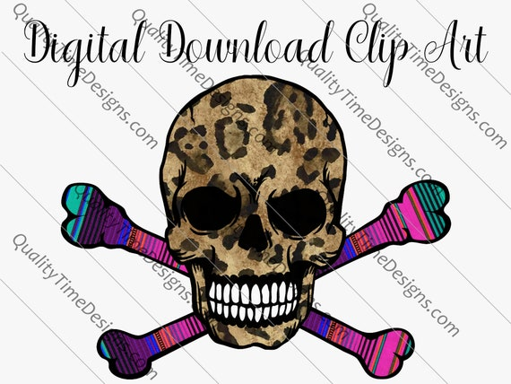Printable Sublimation Designs Clipart - Leopard skull cross bones Halloween 2020 Skull 003 - by Quality Time Designs