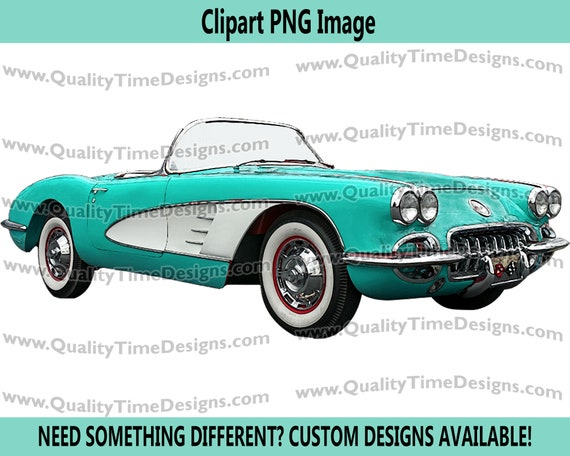 Clipart Corvette Style Muscle Car convertible graphic art - Corvette 101 - Faded Hot Pink - By Quality Time Designs