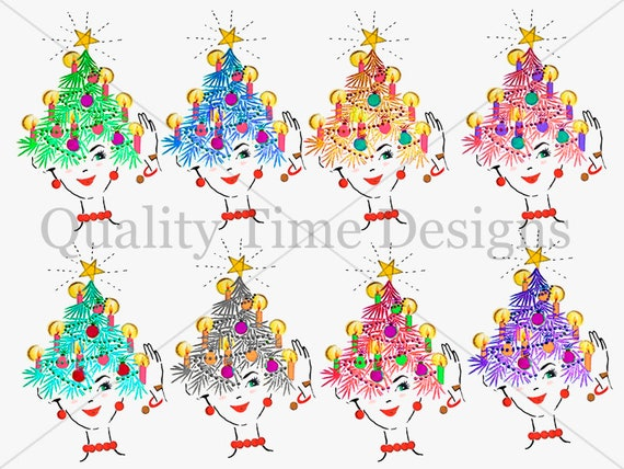 Christmas Party Images Clip Art.Party Girl Tensil Hat Clipart Set Holiday Christmas Party Transparent Skin Multi Color Christmas Tree Hat With Decorations Boutique Fashion