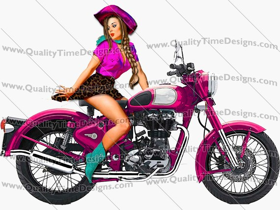 Motorcycle Clipart Pin Up Girl on Bike 101 Pink - by Quality Time designs