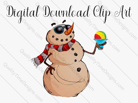 Tropical Clipart Sublimation Transfer Design - Tropical Sandy Snowman 002 - Shaved Ice - by Quality Time Designs