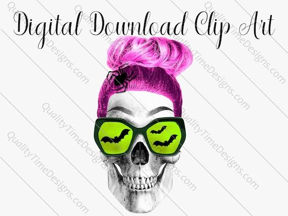 Printable Sublimation Designs - Girl Skull 002 - BOHO Floral Pink Orange Teal Green - by Quality Time Designs