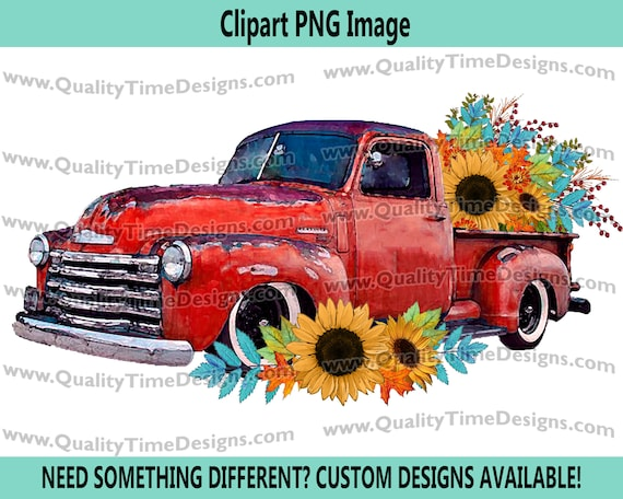 Fall Floral 101 Truck Red Watercolor BOHO Turquoise Sunflower Fall Leaves Boho Water Color - by Quality Time Designs