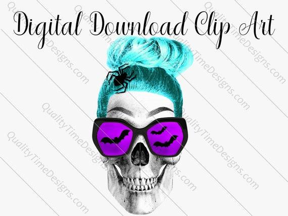 Printable Sublimation Designs - Girl Skull 006 - BOHO Floral Pink Orange Teal Green - by Quality Time Designs