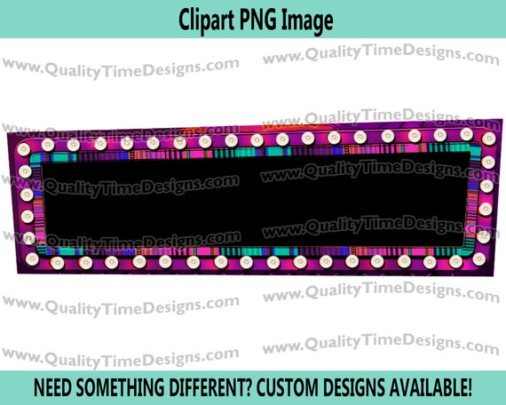 Rectangle Marquee Frame 003 Marquee Sign Frame with Lights Vegas Sign Clipart - by Quality Time Designs