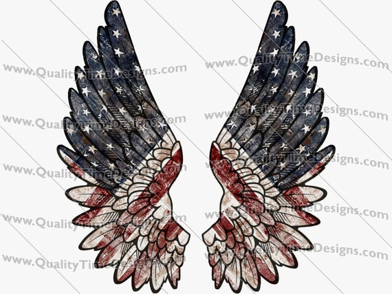 Independence Day 4th of July Clipart Transfer Sublimation Printing - American Flag Wings 101 - by Quality Time Designs