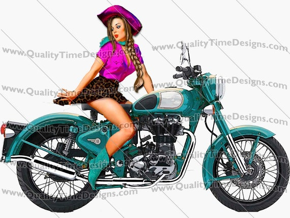 Motorcycle Clipart Pin Up Girl on Bike 101 Blue - by Quality Time designs