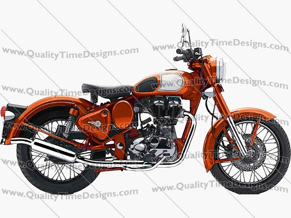 Motorcycle Clipart Motorcycle 101 Orange - by Quality Time designs