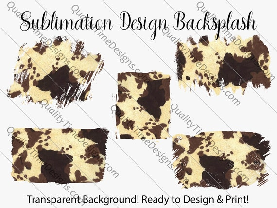 Sublimation Design Transfer Background Splash - Brown Cow - Printable - Print and Cut - PNG Transparent - Element Collection