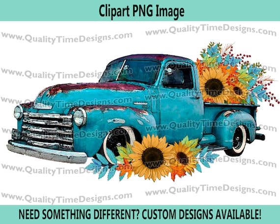 Fall Floral 101 Truck Blue Watercolor BOHO Turquoise Sunflower Fall Leaves Boho Water Color - by Quality Time Designs