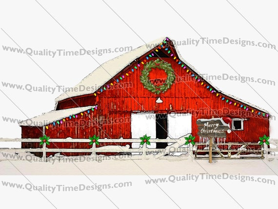 Merry Christmas Clip art transparent background Sublimation Printing Transfer - Christmas Barn 107 - by Quality Time Designs