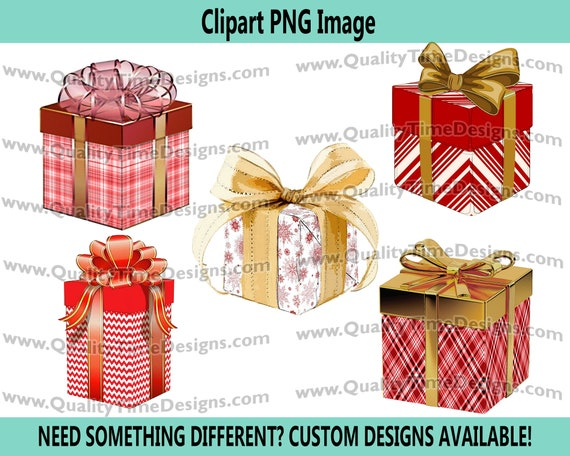 Christmas Clipart - Presents Set Clip Art 101 - Red White Gold - by Quality Time Designs