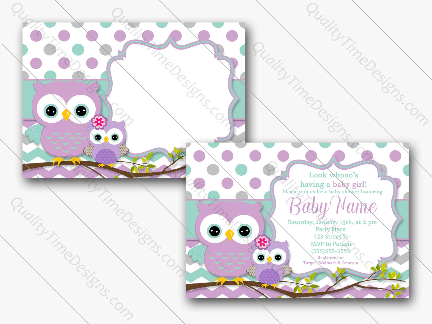 Printable Baby Shower Invitation 7 X 5 Purple Owl Teal