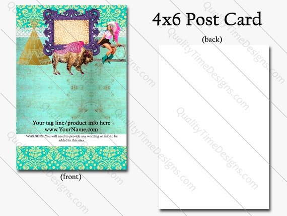 4x6 Post Card Single Side Print Only - Buffalo Cowgirl, Full Color Print, BOHO Western, Funky Business Card, VIP Card, Loyalty Business Card