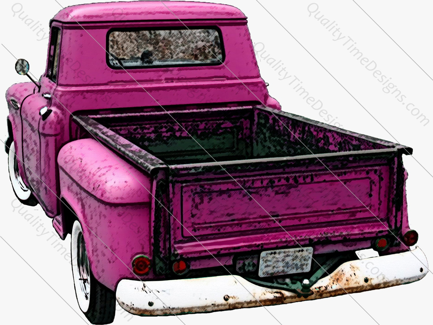 Pink Drawing Watercolor Vintage Truck Clipart Rusty Rustic Country Chevy Pickup Retro Car Hand Painted Clip Art Graphic Design