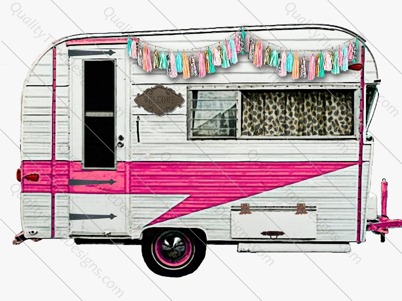 Instant Digital Download Vintage Happy Camper PNG Graphic Clip Art