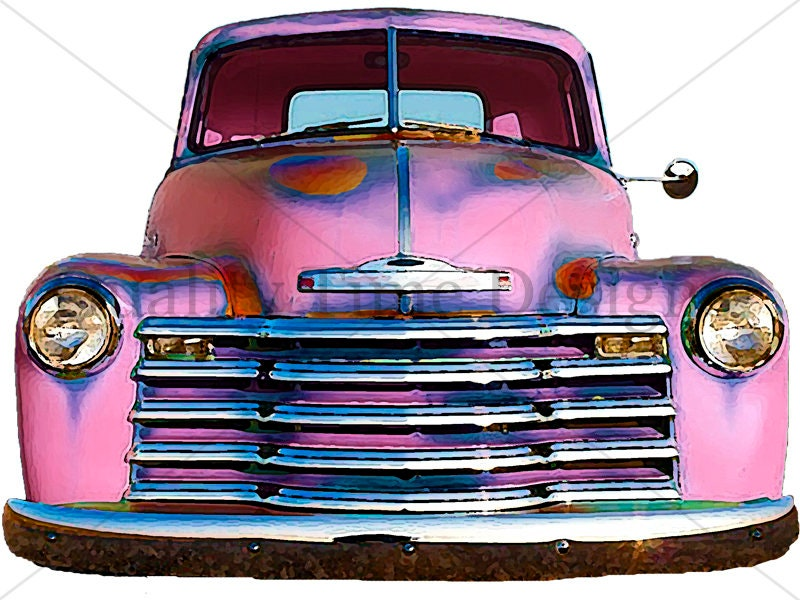 Pink Watercolor Vintage Truck Clipart Rusty Rustic Country ...