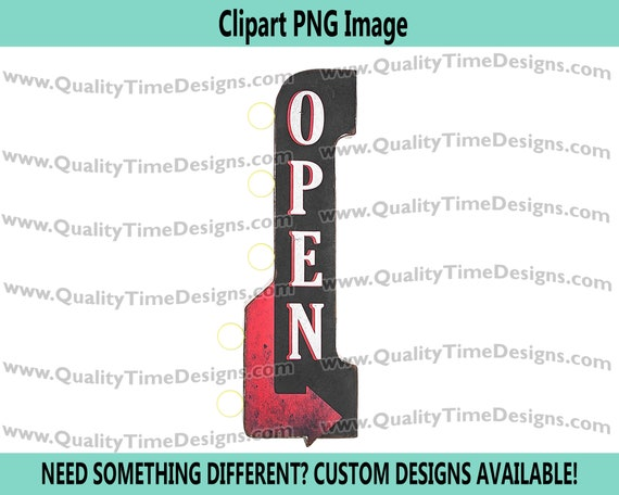 Vintage Marquee Open Sign 101 Marquee Sign Frame with Lights Vegas Sign Clipart - by Quality Time Designs