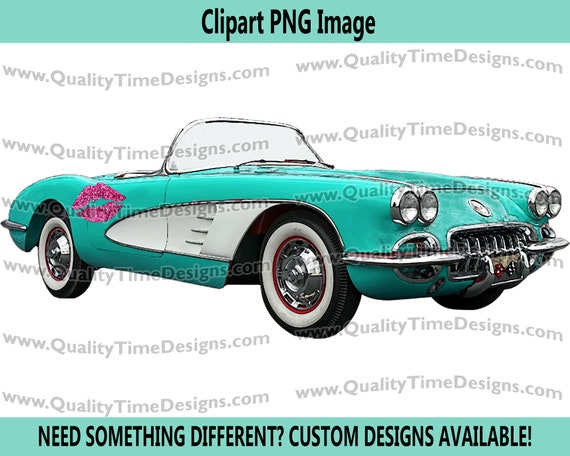 Clipart Corvette Style Muscle Car convertible graphic art - Corvette 103 - Faded Hot Pink - By Quality Time Designs