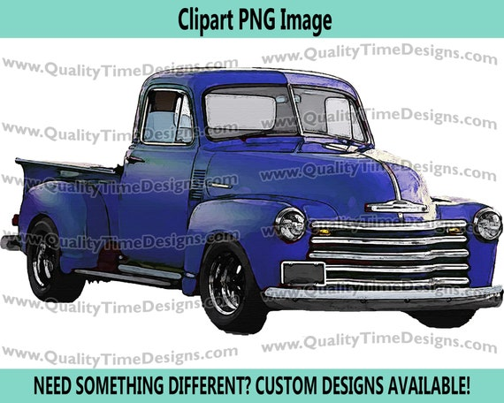Watercolor Vintage Truck Clipart Rustic Country Chevy Pickup Retro Car - Truck Set 101 Blue - by Quality Time Designs