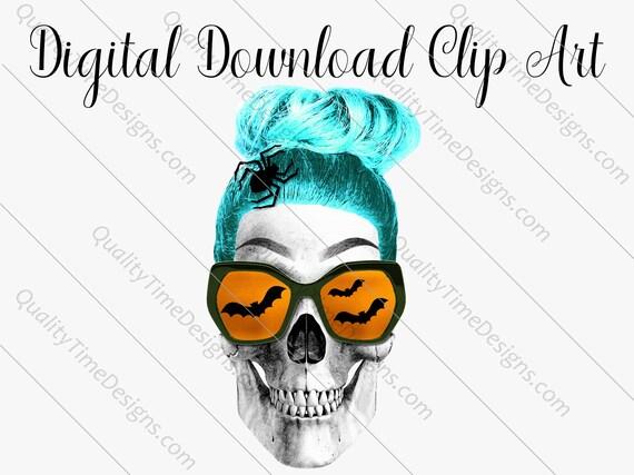 Printable Sublimation Designs - Girl Skull 004 - BOHO Floral Pink Orange Teal Green - by Quality Time Designs