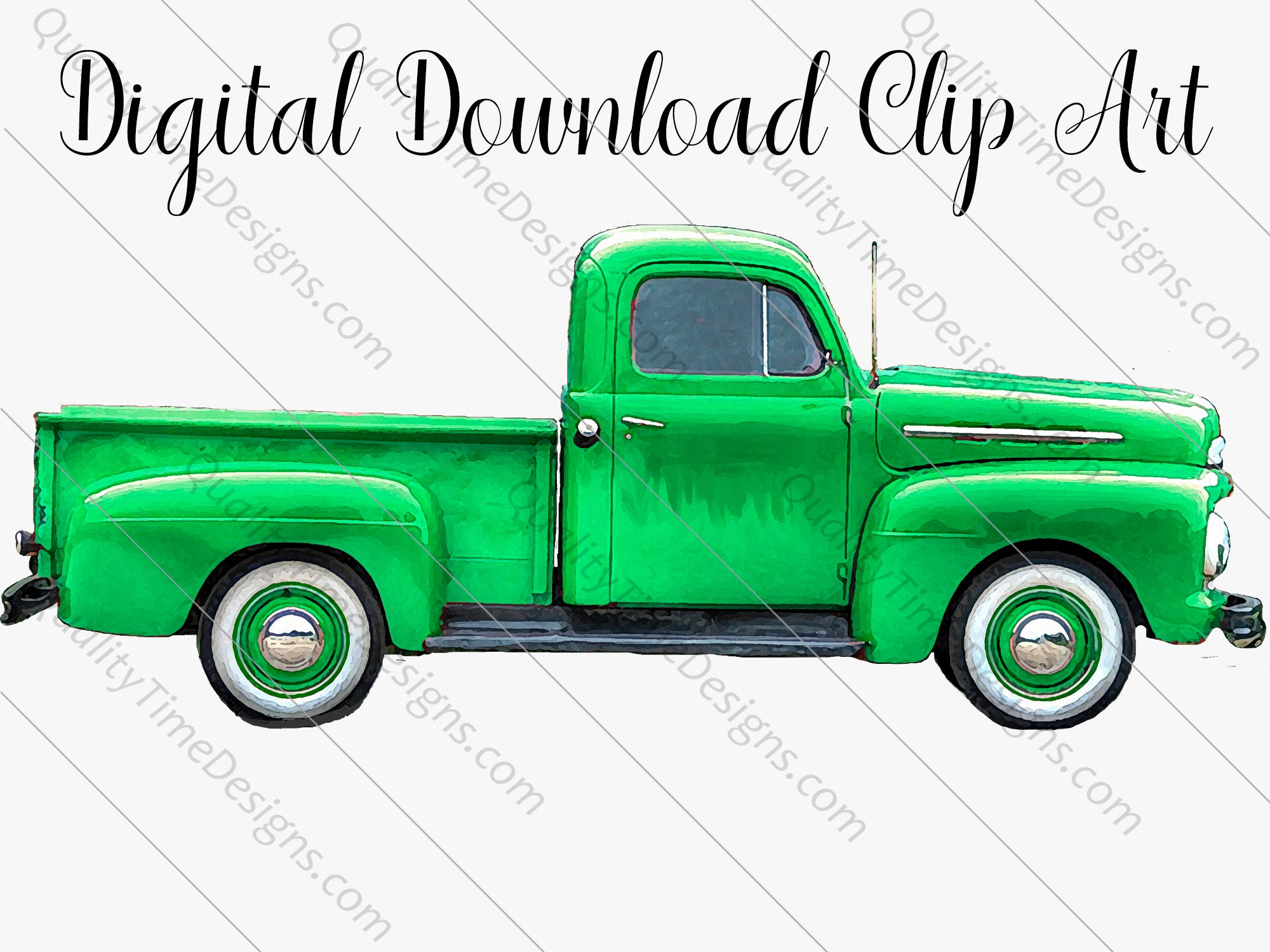 Green Watercolor Vintage Truck Clipart 017 Rusty Rustic Country Pickup Retro Car Hand Painted Clip Art Graphic Design Instant Download
