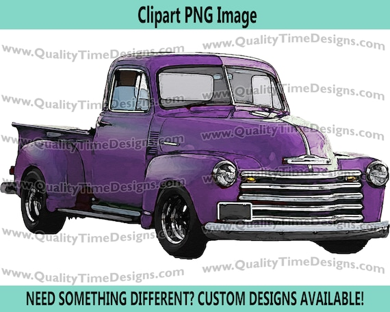 Watercolor Vintage Truck Clipart Rustic Country Chevy Pickup Retro Car - Truck Set 101 Purple - by Quality Time Designs