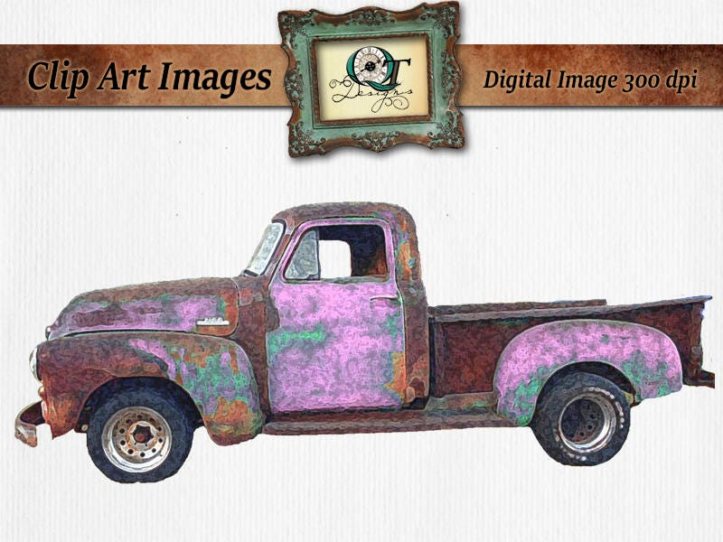 Watercolor Vintage Truck Clipart Pink Teal Rusty Rustic ...