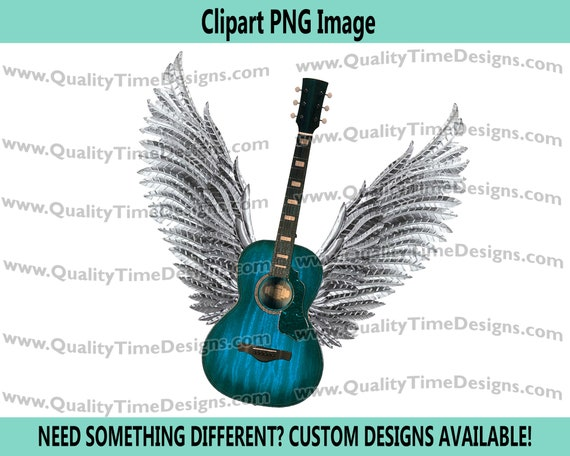 Blue Guitar wings 101 Clipart Graphic Sublimation Designs - by Quality Time Designs