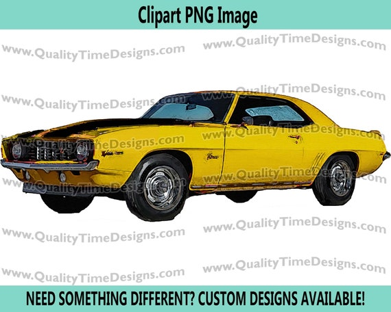 Watercolor Vintage Camaro 001 Yellow black Sports Car Muscle Car Clipart Sublimation Transfer Design by Quality Time Designs