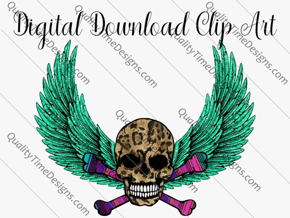 Printable Sublimation Designs Clipart - Leopard skull cross bones Halloween 2020 Skull 004 - by Quality Time Designs