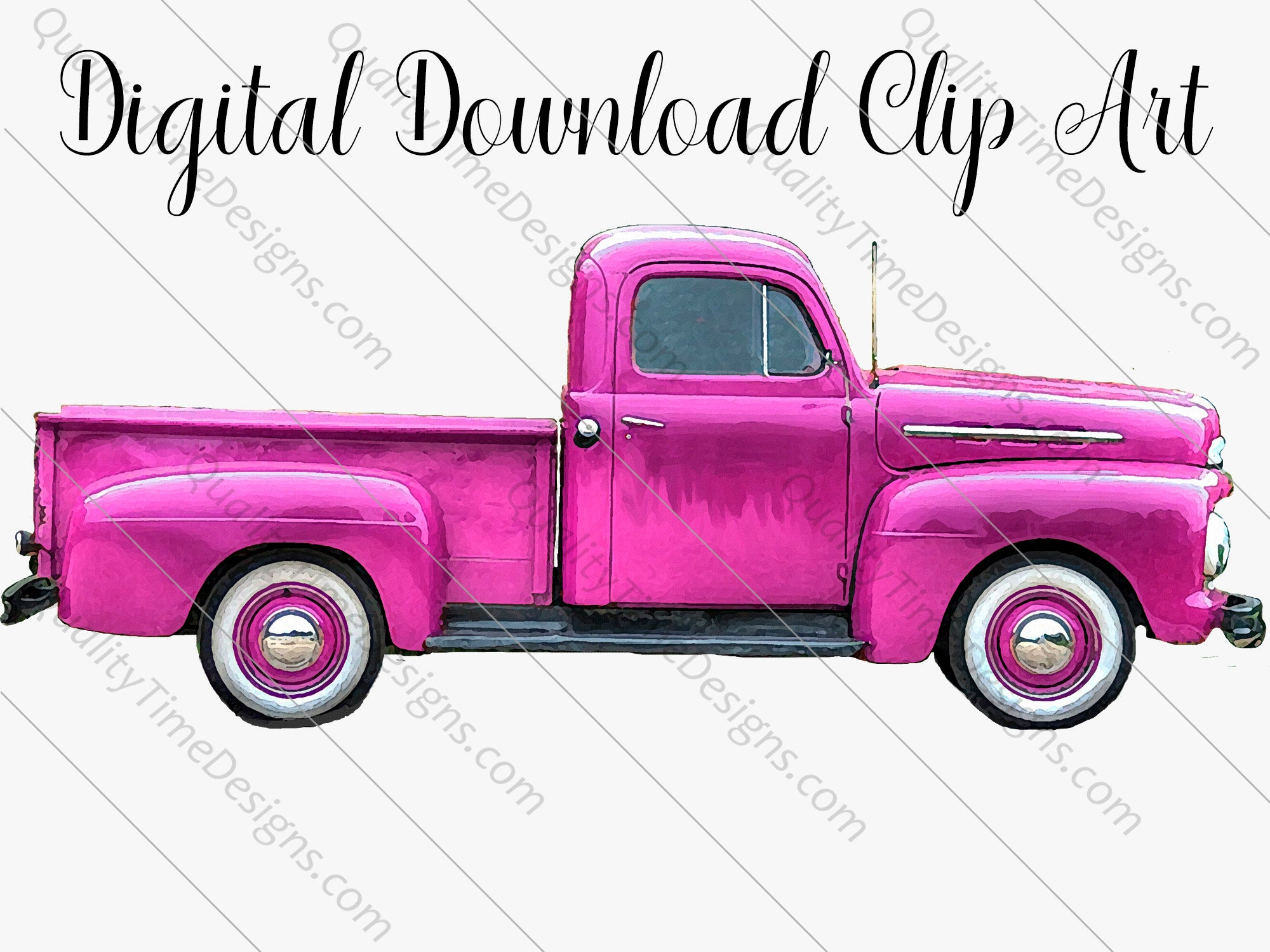 Pink Watercolor Vintage Truck Clipart 017 Rusty Rustic Country Pickup Retro Car Hand Painted Clip Art Graphic Design Instant Download