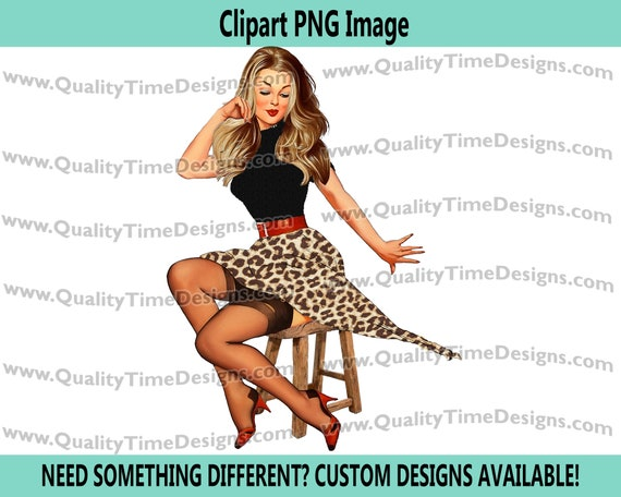 BOHO Chic Babe Boutique Sublimation Design Art - Pin up Girl 26 - Solid Image - by Quality Time Designs