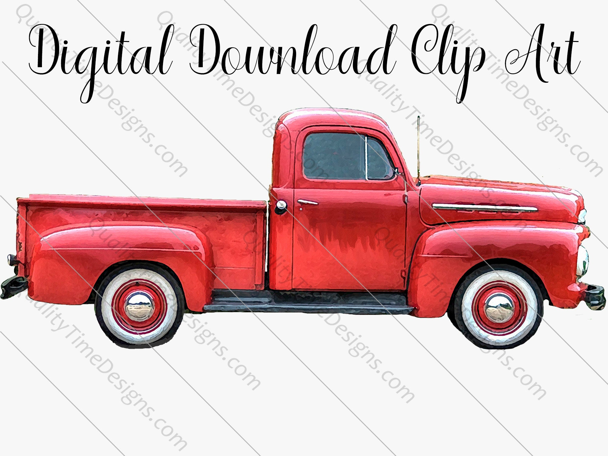 Red Watercolor Vintage Truck Clipart 017 Rusty Rustic Country Chevy Pickup Retro Car Hand Painted Clip Art Graphic Design Instant Download