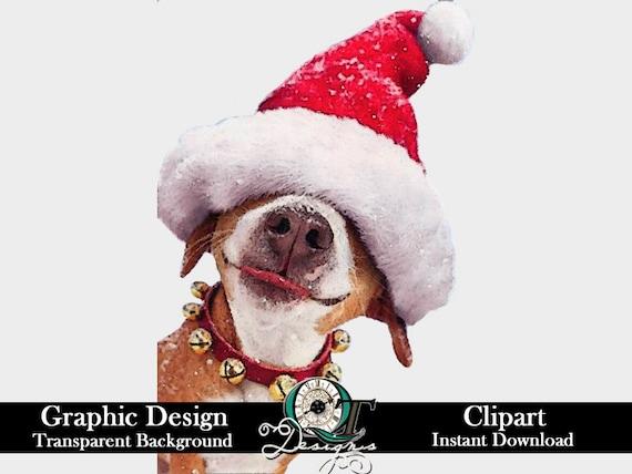 Christmas Hat Clipart Transparent Background.Dog Santa Hat Christmas Graphic Design Clip Art Transparent Background Sublimation Printing Transfer Design Digital Download