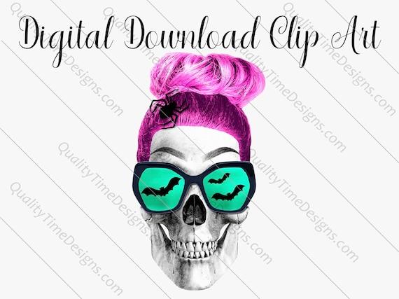 Printable Sublimation Designs - Girl Skull 001 - BOHO Floral Pink Orange Teal Green - by Quality Time Designs