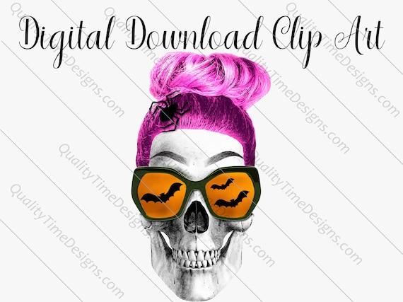 Printable Sublimation Designs - Girl Skull 003 - BOHO Floral Pink Orange Teal Green - by Quality Time Designs