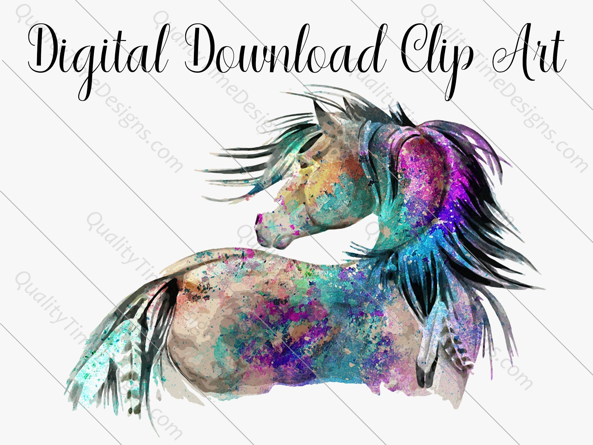 Clipart Sublimation Transfer Design Boho Watercolor Majestic Flowing Native Aztec Horse By Quality Time Designs