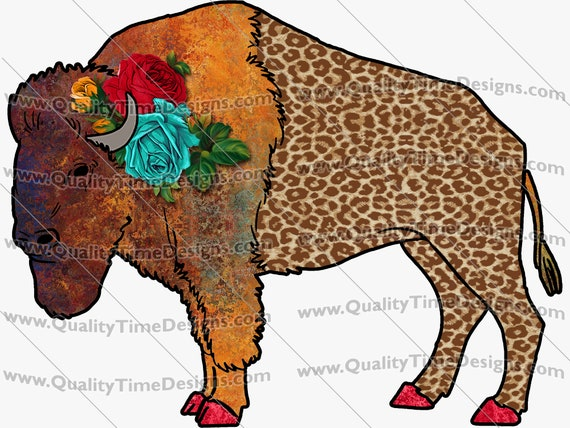 Funky Watercolor buffalo 101 Clip Art Graphic Images Transparent Background Turquoise Gold Glitter American Buffalo Native