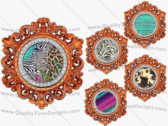 Clip Art Gold Circle Vintage Ornate Bling Frame Clipart BOHO Logo Sublimation Design Elements PNG by Quality Time Designs
