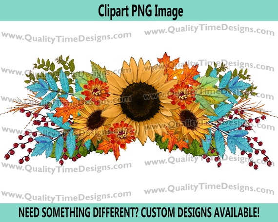 Fall Floral 101 swag Watercolor BOHO Turquoise Sunflower Fall Leaves Boho Water Color - by Quality Time Designs
