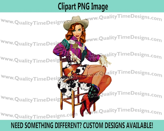 Wanted BOHO Western Pinup Cowgirl Clipart 029a by Quality Time Designs
