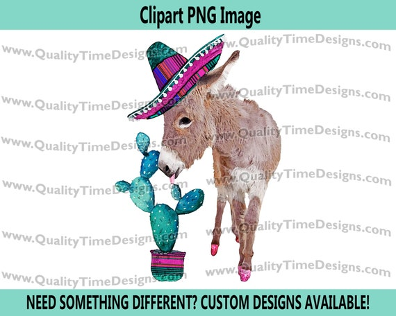 Clipart Sublimation Transfer Design - BOHO Mexican Western Donkey 012 - by Quality Time Designs