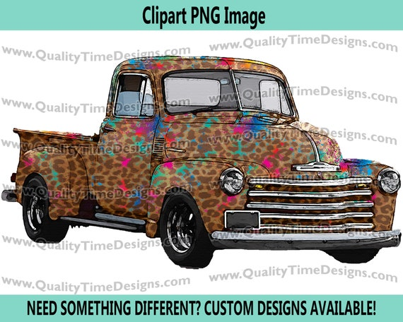 Watercolor Vintage Truck Clipart Rustic Country Chevy Pickup Retro Car - Truck Set 101 Leopard Paint Splat - by Quality Time Designs