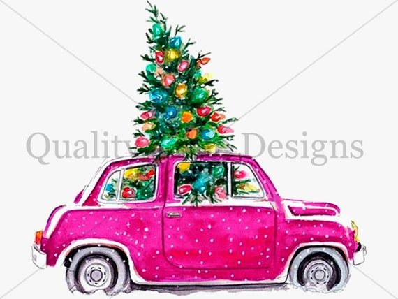 Pink Christmas Tree And Car Package Multi Color Pack Car Clipart Set Images With Transparent Background