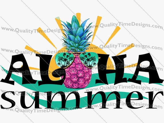 Clipart Sublimation Transfer Design - Aloha Summer 101 - by Quality Time Designs