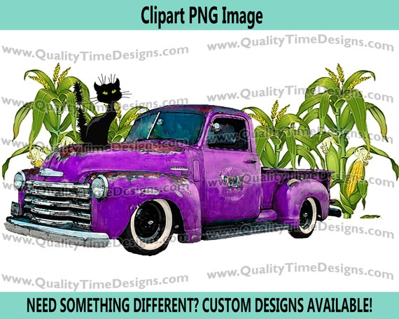 Truck in Corn 101 - Halloween Clipart Sublimation Transfer Crafting image - Halloween Clipart Fall - by Quality Time Designs