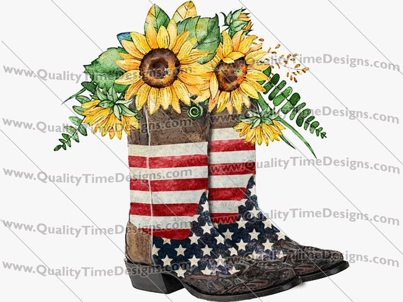 Printable Sublimation Transfer Clipart - American Cowboy Boots Sunflower 101 - by Quality Time Designs