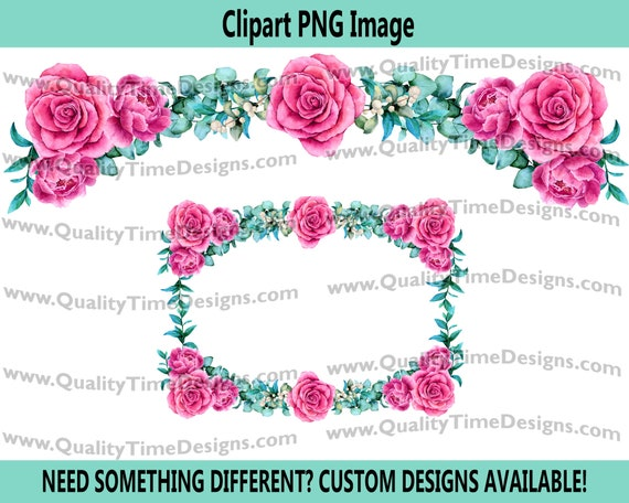 Water Color Floral Rose arrangement 102 - Pink Rose turquoise leaves - by Quality Time Designs