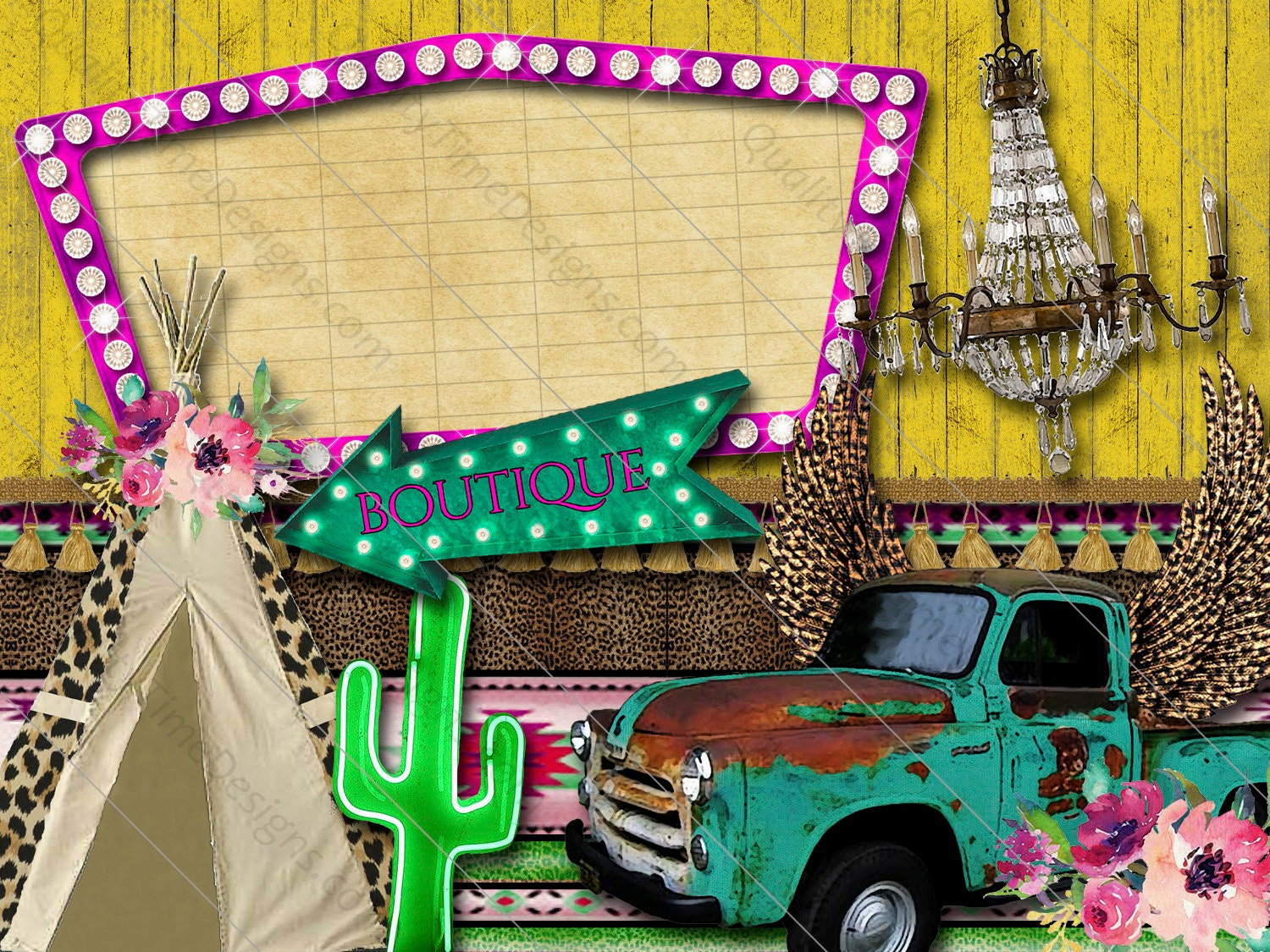 Boho Western Clipart Turquoise Chevy Truck Leopard Wings Pink Marquee Light Sign Neon Cactus Boutiqu Marquee Arrow Ribbon Leopard Tepee